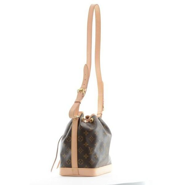 Louis Vuitton Noe BB Bucket Bag Sienna via Polyvore featuring bags, handbags, shoulder bags, crossbody shoulder bags, bucket bag, white leather purse, louis vuitton shoulder bag and louis vuitton purses