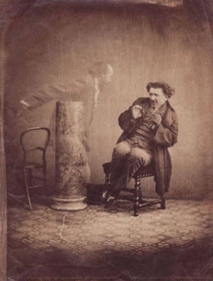 """""""Photographers learned early on that they could fake ghosts by simply double-exposing the plate. Suckers were persuaded by mediums that these were real."""""""