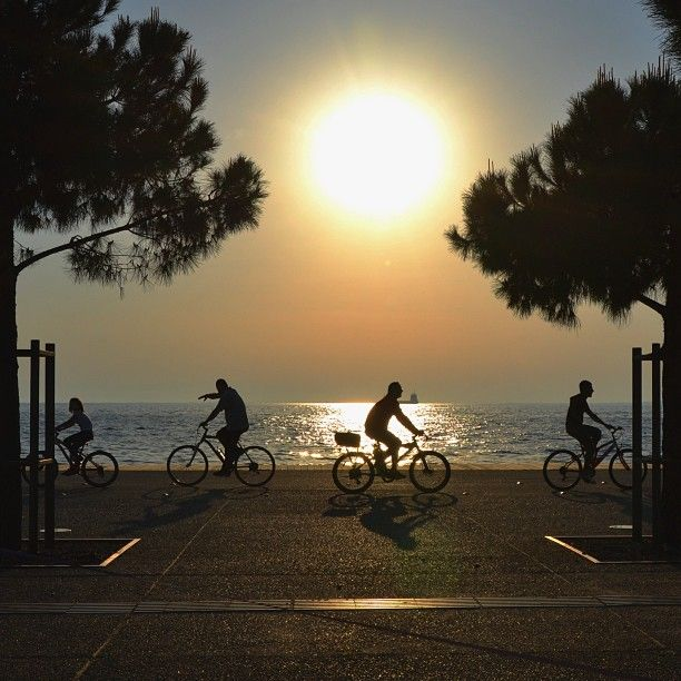 Cycling by the sea, thermaikos. thessaloniki