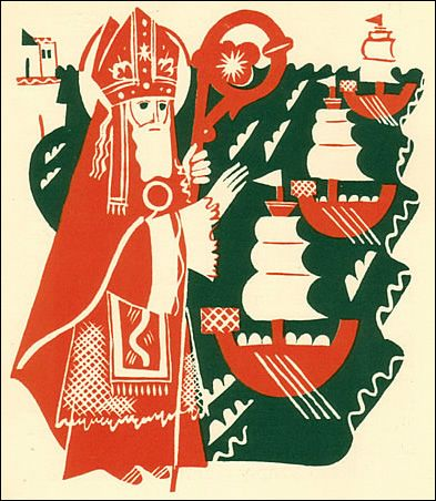 St Nicholas blessing ships illustrated by Elisabeth Ivanovsky
