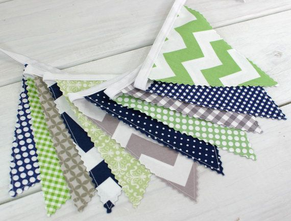 Bunting Banner, Photography Prop, Fabric Flags, Nursery Decor, Birthday Decoration, Garland, Pennant - Green, Grey, Navy Blue, Gray, Chevron