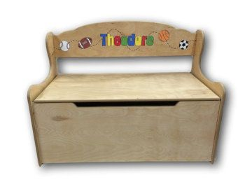 Sport KIds Personalized Toy Box and Deacons Bench
