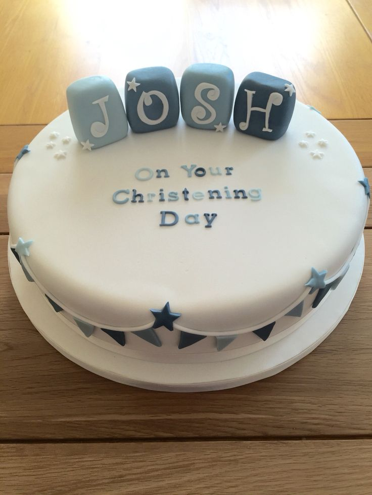 Boys Christening Cake. Stars and Bunting blue and white