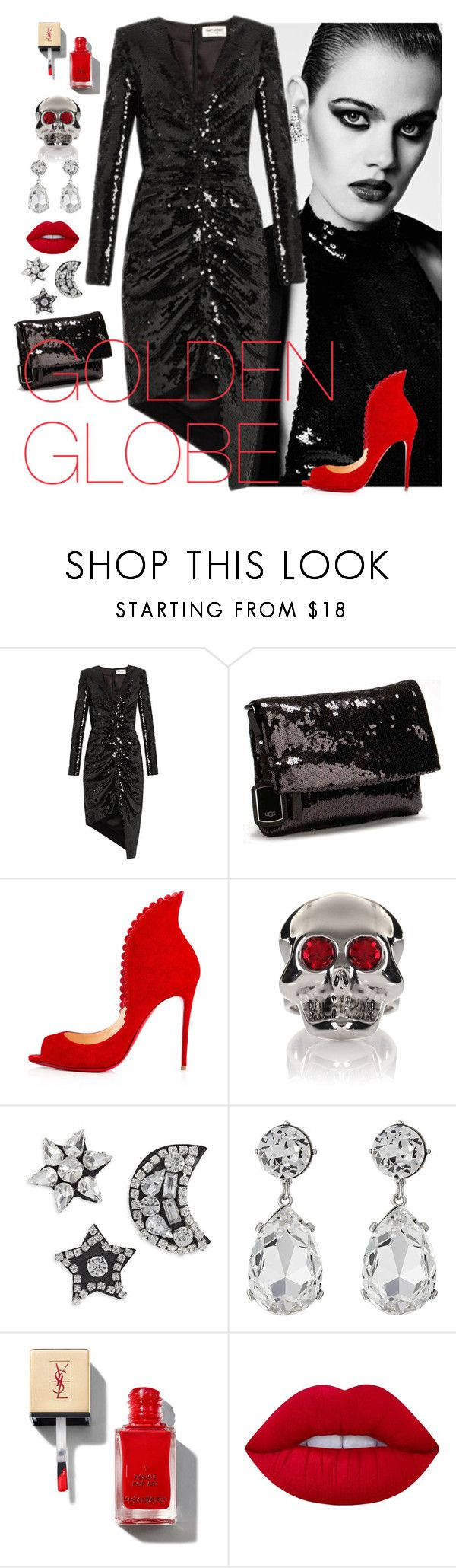 """""""Red carpet"""" by sonitsa ❤ liked on Polyvore featuring Yves Saint Laurent, UGG Australia, Moschino, Kenneth Jay Lane and Lime Crime"""