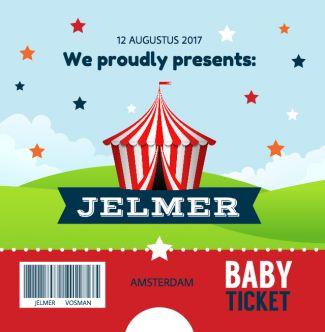 Festival circus geboortekaartje met vrolijke kleuren. Gebruik deze kaart en maak hiervan zelf je eigen persoonlijke geboortekaartje. Wil je de kaart door ons laten opmaken? Geen probleem, wij helpen je graag!