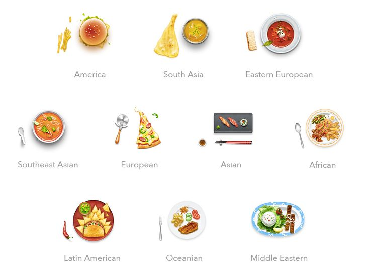 World Cuisine Icons by Takahashi Alex