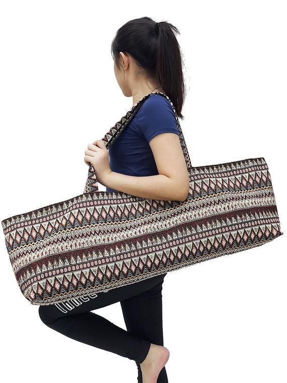 Handmade Yoga Mat Bag Sports Bags Woven Cotton Yoga Bag Tote Etsy In 2020 Yoga Bag Tie Dye Bags Mat Bag