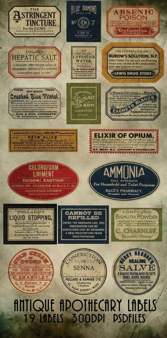 Digital Antique Apothecary label elementsTemplates collection PSD safe download files photoshop steampunk antique syle via Etsy