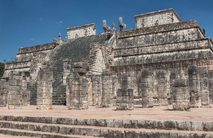 Temple of a Thousand Warriors: Once glorious and vibrantly painted, now softened with age like a faint memory, the stone warriors carved into hundreds of columns at the base of this Mayan temple have stood mute witness to centuries of ceremony, sacrifice, and the rise and fall of empires.