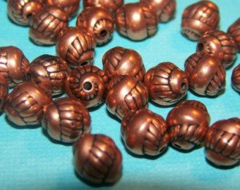 Vintage Copper Spiral Acrylic Beads bds271
