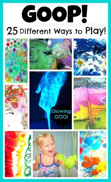 Goop--just cornstarch & lots of fun. 25 Goop Sensory Activities in this post