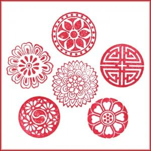 These would make cute tattoos - love the red! 6pcs Korean Traditional Pattern Seal Stamps