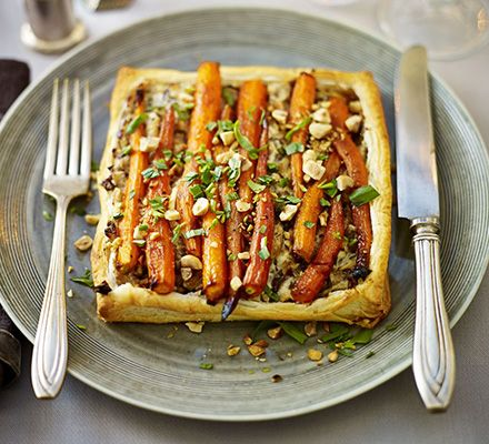 vegetarian -Golden-glazed carrot, mushroom & hazelnut tart. Perfect for christmas dinner