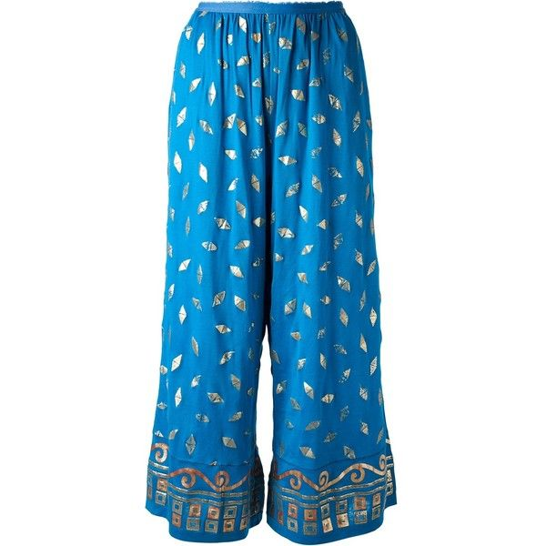 Jean Paul Gaultier Vintage printed palazzo trouser (877 CAD) ❤ liked on Polyvore featuring pants, jeans / pants / leggings, blue, patterned trousers, wide palazzo pants, vintage trousers, wide-leg pants and vintage pants