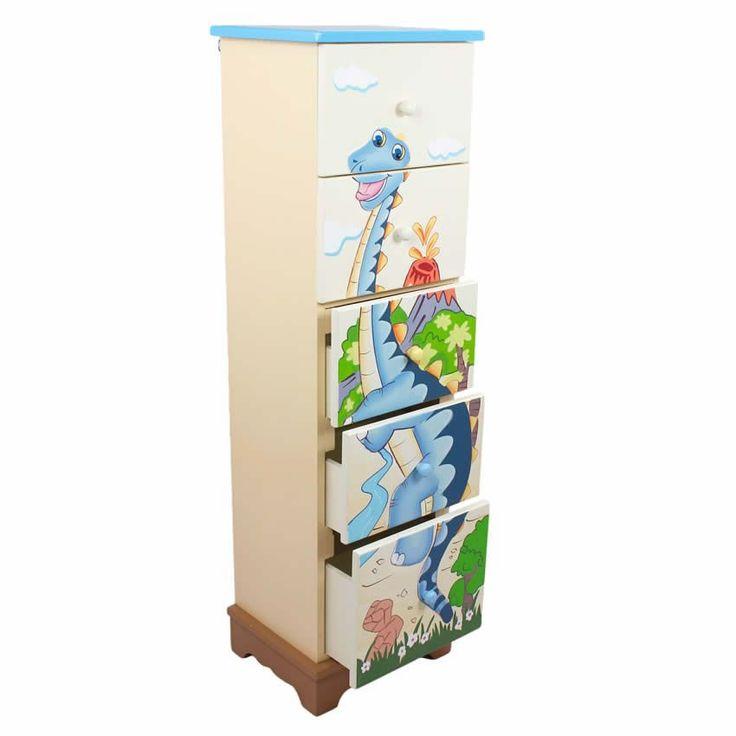 Dinosaur Kingdom 5 Drawer Cabinet www.sweetretreatkids.com #sweetretreatkids #kidsdresser #kidsstorage #kidschest #dinosaurchest #5drawerdresser #5drawerchest