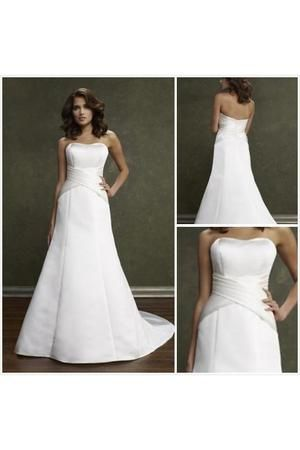 Vestido de noiva pregas verticais A-Line Sem Alças Saia longa