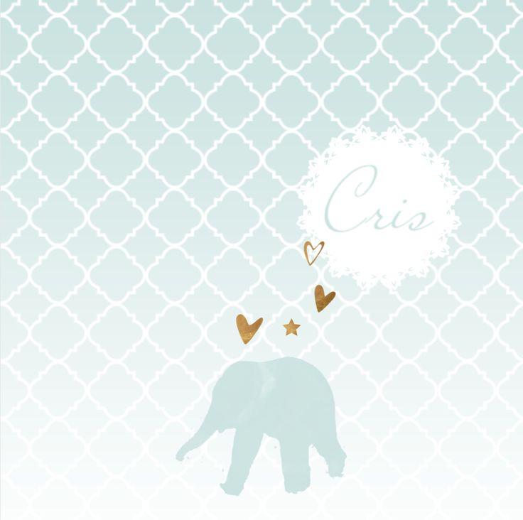 LOVZ | Olifantjes geboortekaartje met koper look, hartjes en sterren voor een jongen! Met Marokkaanse print op de ondergrond. Alles staat los en is te bewerken