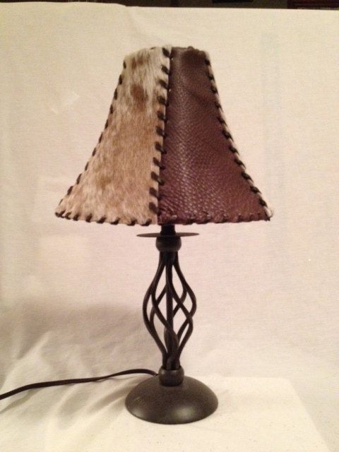 Cowhide Lamp Shade from Down the Fence Designs | Stylish Western Home Decorating