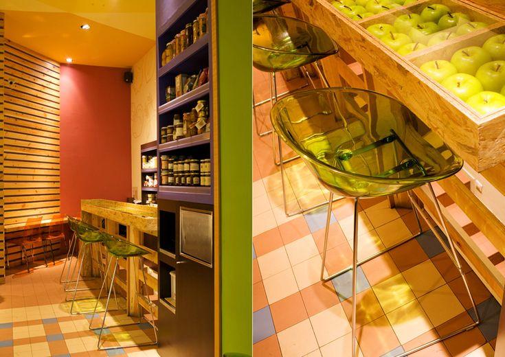 Mostaza Design | Macedonia fruit café | Madrid |The flavors of fresh fruit | Healthy lifestyle  #mostazadesign #fruit #branding #coffeeshop #madrid #interiordesign #interiors #retail #illustration