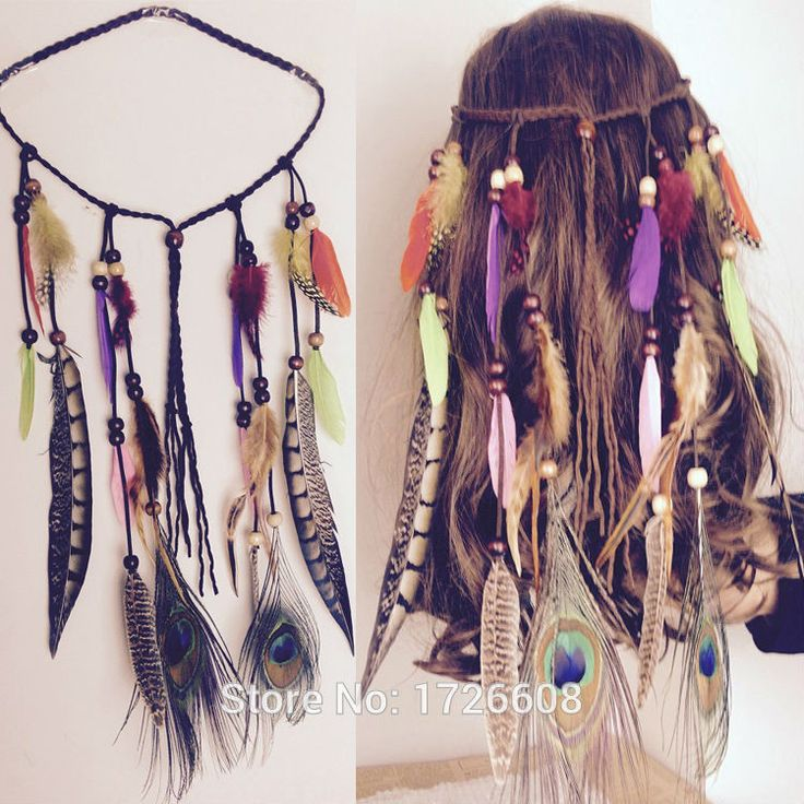 HOT Boho Weave Bird Feather Tassel Festival Headbands Native American Indian Hippie Headband Headdress Hair Accessories Jewelry