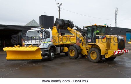 Grit trucks ready for the winter weather at the Amey depot near Coatbridge, Lanarkshire.e. - Stock Photo