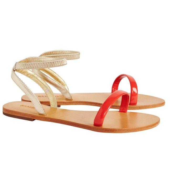 Lydia Coral/Gold Fine Elastic Sandals    size 38