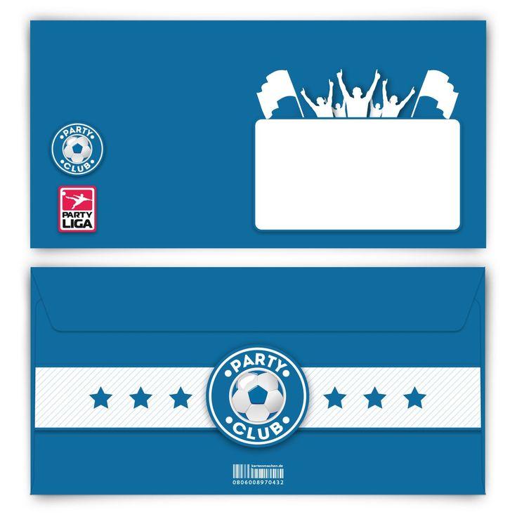 Für die Fußball-Helden (Briefumschlag, DIN Lang quer) #briefumschlag #papeterie #kreativ #fußball #blau