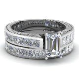 Fascinating Diamonds Cathedral 4.20 Ct Emerald Cut Diamond Wedding Rings Channel Set FLAWLESS 14K GIA Fascinating Diamonds