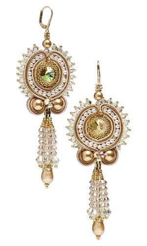 Earrings with SWAROVSKI ELEMENTS, Seed Beads and Soutache Cord