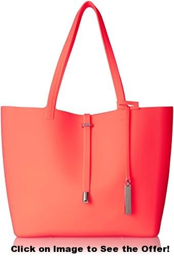 Vince Camuto Sil Travel Tote, Fiery Coral, One Size
