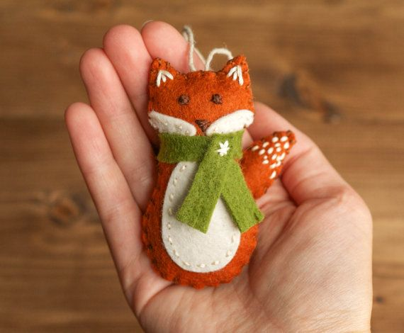 Ornamento di Natale Red Fox sentivo volpe bosco di builtonbranches