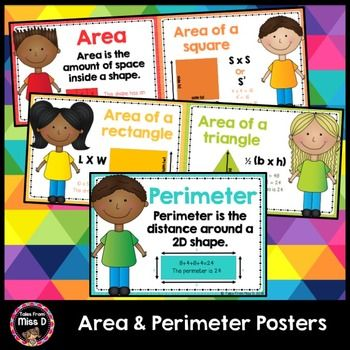 Area and Perimeter PostersThese Area and Perimeter Posters are useful visual reminders for students.Includes;1) What is area? (example)2) Area of a Square (formula and example)3) Area of a Rectangle (formula and example)4) Area of a Triangle (formula and example)5) What is perimeter (formula and example)If you have any questions please email me at talesfrommissd@gmail.com.