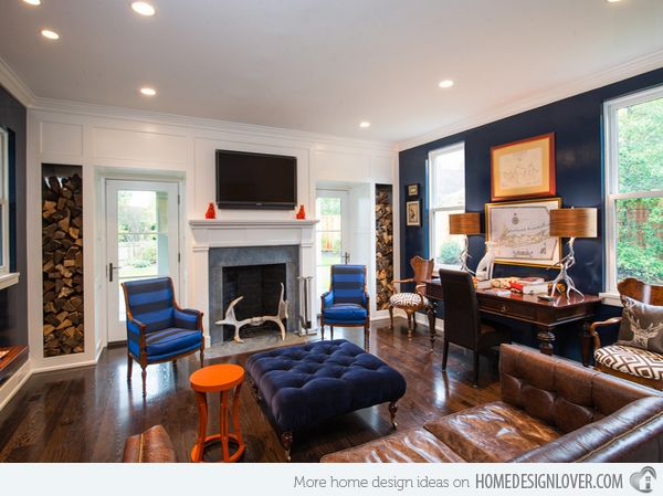 15 Stunning Living Room Designs With Brown, Blue And Orange Accents 6