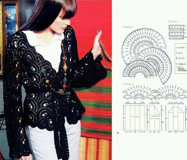 Calado en negro: Crochet Blusas, Crochet Ideas, Crochet Wearables, Crochet Jackets, Crochet Pattern, Crochet Inspiration, Crochet Clothing