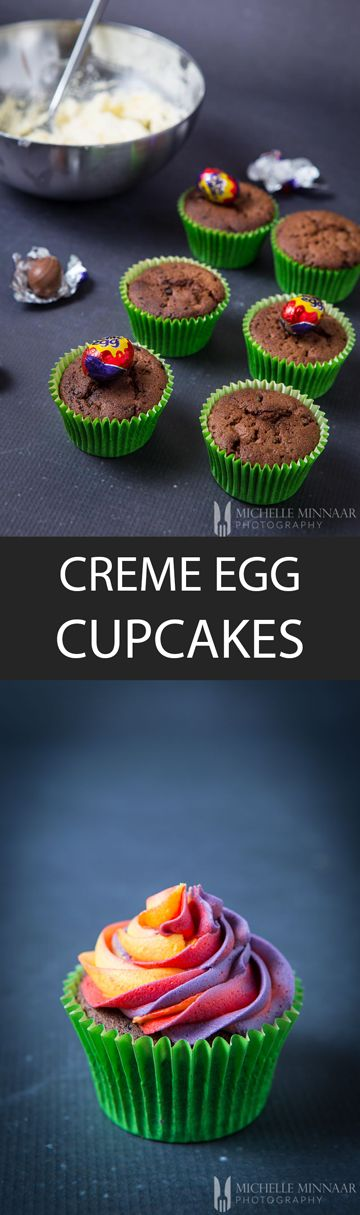 Creme Cupcakes - {NEW RECIPE} These Creme Egg Cupcakes are enjoyed by children and adults alike every Easter. Use red, yellow and purple icing to jazz them up and other decorating ideas.