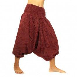 Los pantalones cortos del Harem mezcla de algodón - de color rojo oscuro