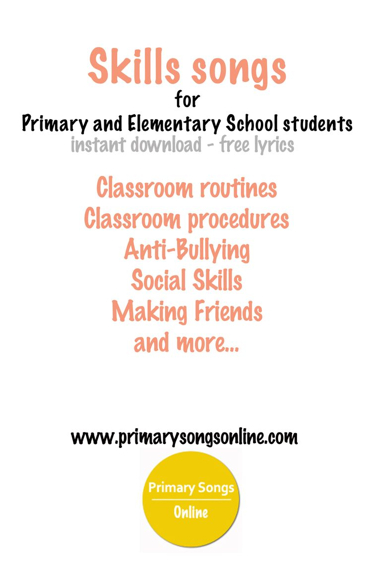 A collection of social skills, classroom routine and procedure and friendship activity songs for instant download.   www.primarysongsonline.com