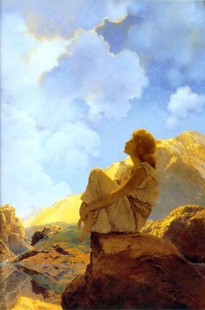 Maxfield Parrish      Somewhere over the rainbow, bluebirds fly  Birds fly over the rainbow, why then, oh why can't I?