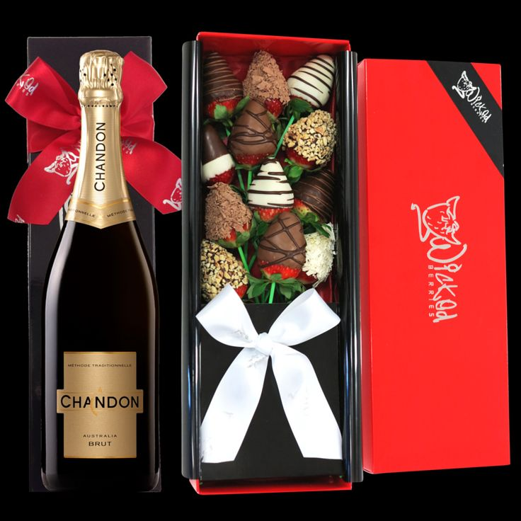 THE BUBBLY & BOUQUET - make and impression with this stunning gift set. One dozen long stemmed chocolate dipped strawberries and a chilled bottle of chandon. Blushing cheeks and smiles gauranteed all round when you have this super stunning gift delivered. Order it now http://www.wickedberries.com.au/p/Valentines-Day/Bubbly-and-Bouquet/WBBUBL