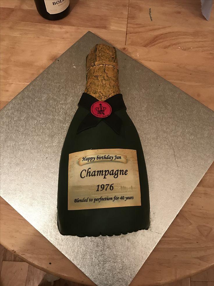 Champagne bottle 40th cake