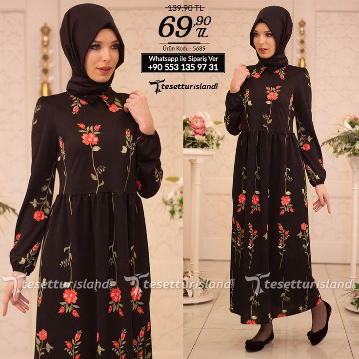Hewes Line - Çiçek Desenli Siyah Tesettür Elbise 568S #hijab #naylavip #hijabi #hijabfashion #hijabstyle #hijabpress #muslimabaya #islamiccoat #scarf #fashion #turkishdress #clothing #eveningdresses #dailydresses #tunic #vest #skirt #hijabtrends