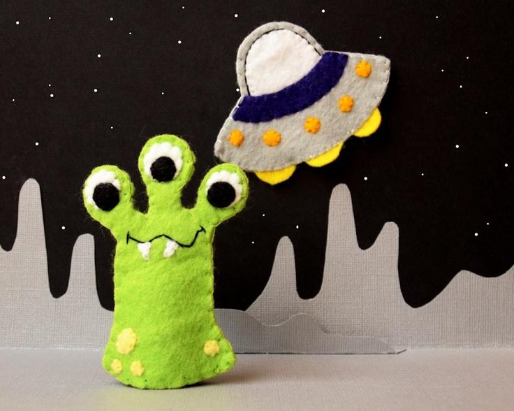 Green Alien and UFO-  Felt Finger Puppet Pair. $16,00, via Etsy.