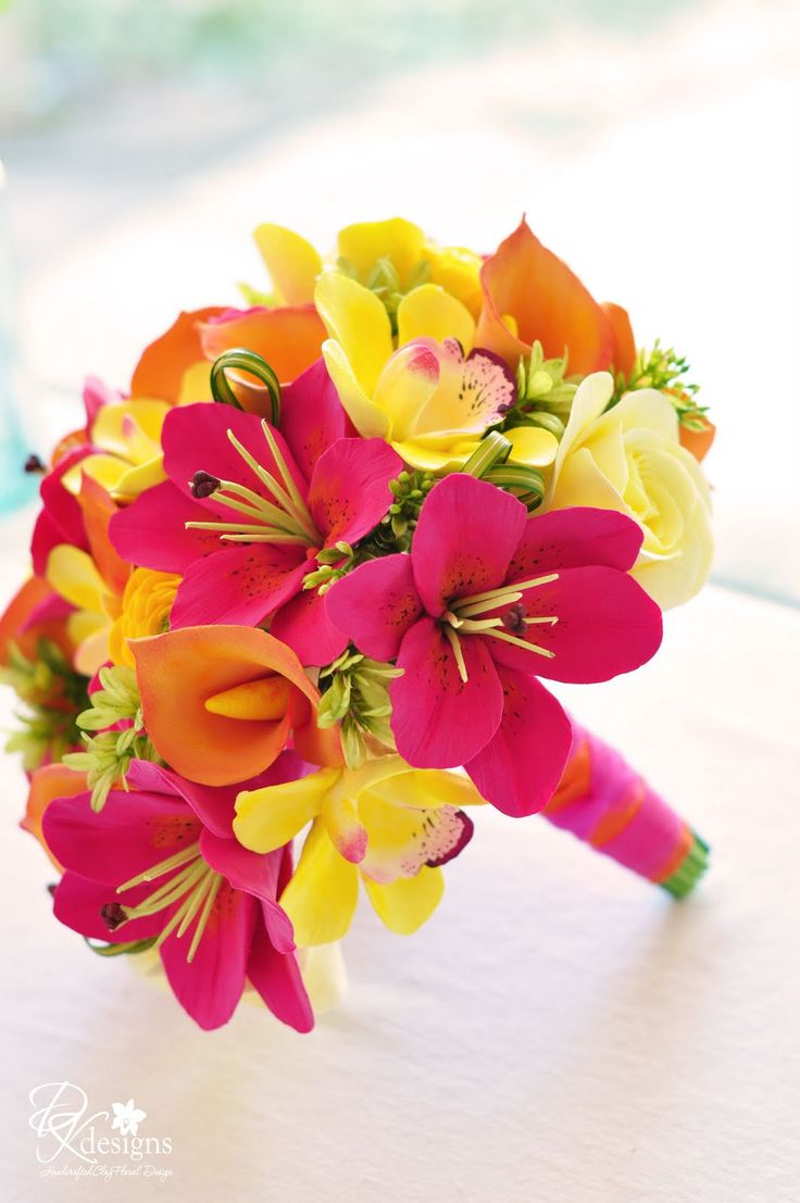 #Vibrant, Tropical Destination Wedding Bouquet... Oranges, Yellows and Pinks  ... Wedding Guide ... The how, when, where & why of wedding planning for brides, grooms, parents & planners ... https://itunes.apple.com/us/app/the-gold-wedding-planner/id498112599?ls=1=8 … plus lots of budget wedding ideas ♥ The Gold Wedding Planner iPhone App ♥ http://pinterest.com/groomsandbrides/boards/