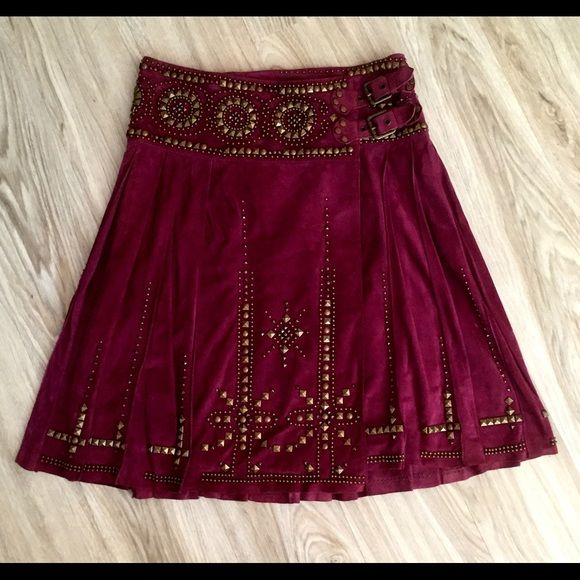 Roberto Cavalli – suede and studded skirt. Roberto Cavalli- Beautiful suede skirt with intricate studded detailing. Pleated and kilt-like styling with waistband buckles.   This item is just like new. Has never been worn. Extremely unique and very rich and high-quality. This is extremely rare. A very difficult find.  Cash, quick pay via Chase bank or wire transfer accepted only. No checks whatsoever. Roberto Cavalli Skirts Midi