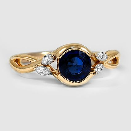 18 Karat Gelbgold Saphir Willow Diamond Ring / / Set mit einem 6 mm Premium Runde Blu …