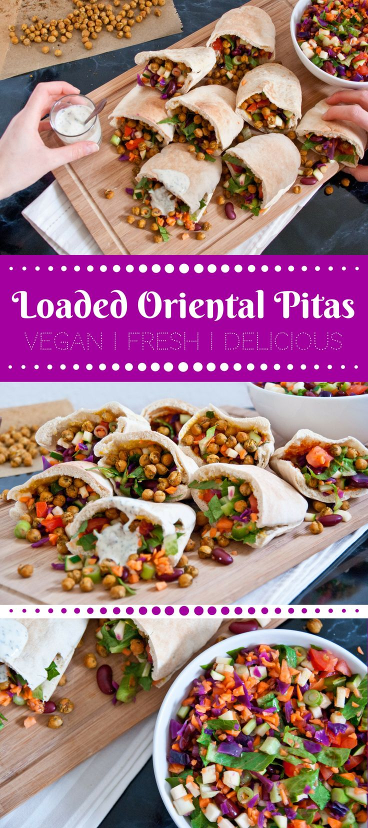 Loaded oriental veggie pitas - vegan fast food recipe
