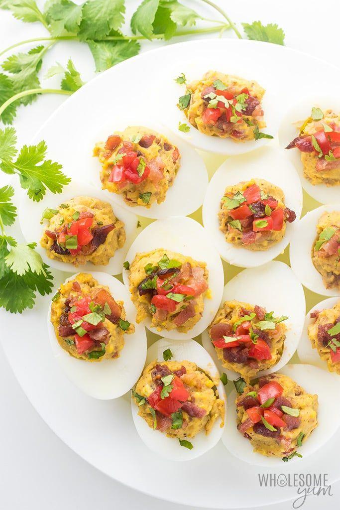 Mexican Keto Deviled Eggs Recipe with Avocado and Bacon