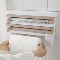 Wish | Kitchen Wrap Shelf Plastic Wrap Frame Triple Paper Dispenser Preservative Film Rack Spice Shelf