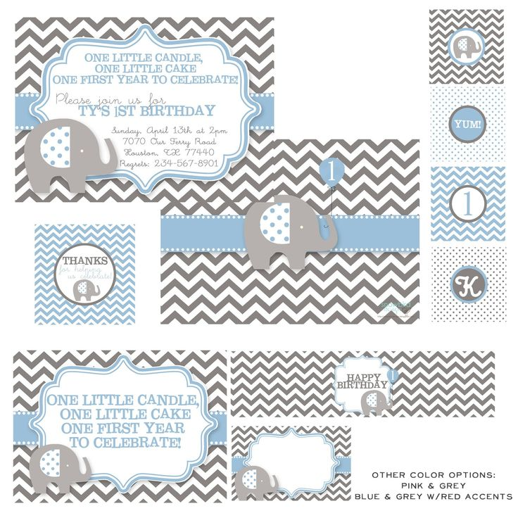 snowbird design: Boy Birthday Themes, elephant party, first birthday,