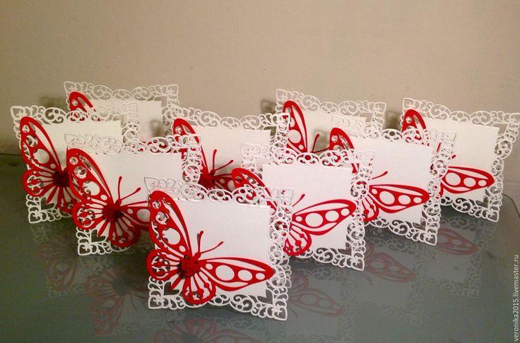 Купить Карточки для свадебного стола.Бабочка. - тёмно-синий, дизайнерские украшения, дизайнерская бумага, Table, place, name card